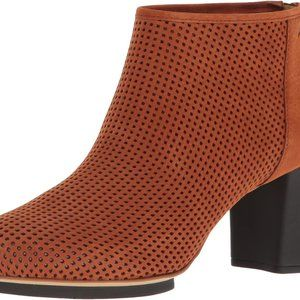 Camper Brown Suede Booties with Cutout Detailing